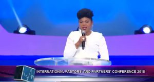Christ Embassy delegate Pastor Joy Amenkhienan gives her address