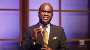 The esteemed Pastor Lanre Alabi leads the global congregation in prayer.