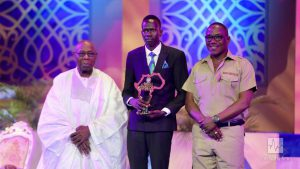 Isaiah Deng with Former President Olusegun Obasanjo and the Minister of Youth and Sport Solomon Dalong