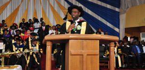 Bishop F.E. Benson Idahosa II congratulates Pastor Chris