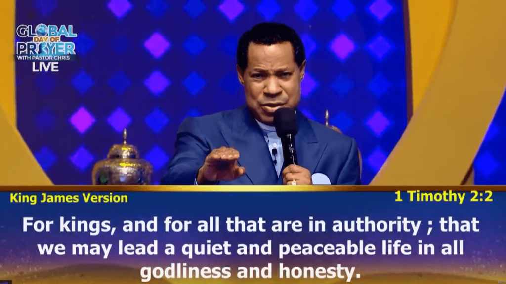 """Sudden changes are about to take place as we pray,"" Pastor Chris Oyakhilome declared."